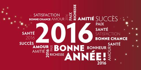 Carte de voeux  bonne anne 2016 - rouge.
